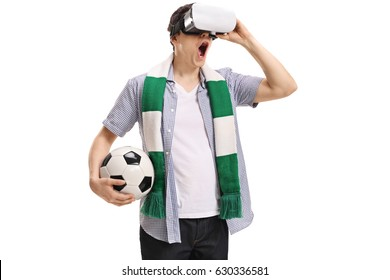Excited football fan using a VR headset isolated on white background