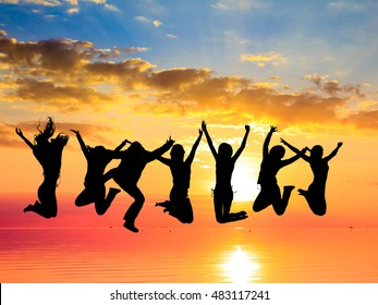 Excited Friends Silhouettes