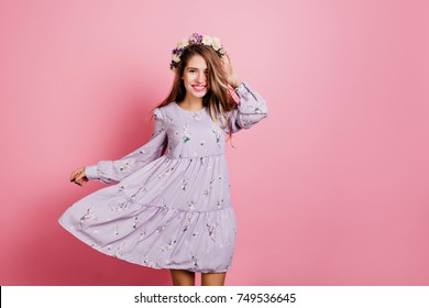 Floral dress images stock photos vectors shutterstock excited girl in cute purple dress dancing with smile on pink background indoor portrait of mightylinksfo