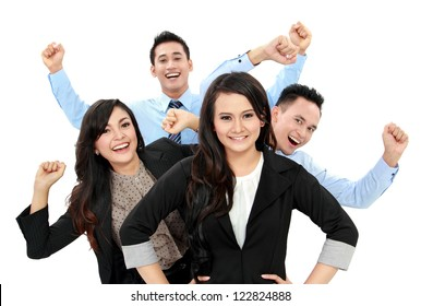 Excited group of business people isolated over white background