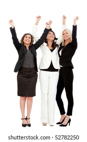 Excited group of business women isolated over a white background