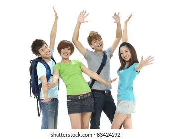 Excited group of people with arms up isolated