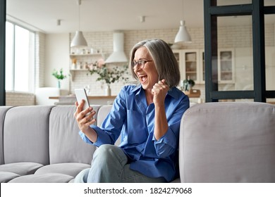 Excited happy mature old 60s woman customer winner holding smartphone using mobile app winning online lottery bid, celebrating success, receiving gift voucher on cell phone sitting on couch at home.