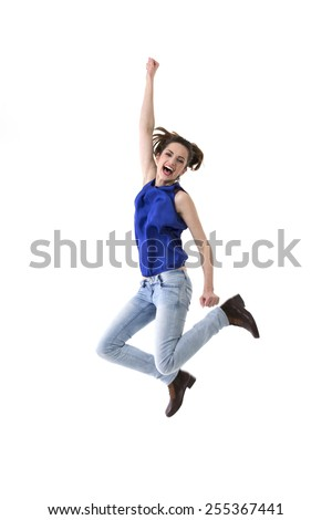 excited happy woman jumping joy caucasian stock photo edit now