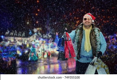 Excited hobo with shopping bags catches a taxi. Homeless man in Santa hat was on Christmas sale. It is snowing. Soft blurred night holiday background