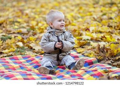Excited little boy sitting on tartan in the park.