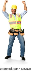 Excited Male Construction Worker with short black hair in uniform celebrating with arms open - Isolated