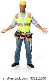 Excited Male Construction Worker with short black hair in uniform with arms open - Isolated