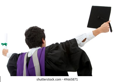 Excited male graduate student with arms opened-  isolated over white