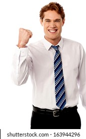 Excited male manager rejoicing on his victory