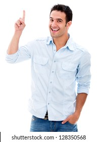 Excited man pointing a great idea - isolated over a white background