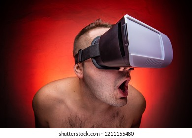 Excited men with vr / virtual reality is watching porn. Virtual sex addiction.