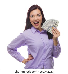 Excited Mixed Race Woman Holding the Newly Designed United States One Hundred Dollar Bills Isolated on a White Background.