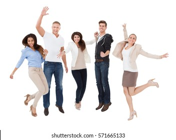 An Excited Multi Racial People Cheering In Front Of White Background