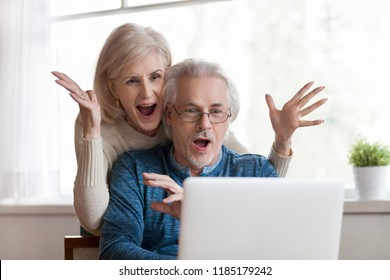 Excited senior mature couple surprised by good unbelievable news, unexpected win, huge shopping sale offer on website, astonished older middle aged family looking at computer screen feeling amazed