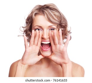 excited shouting young woman, isolated against white