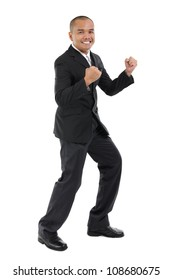 Excited Southeast Asian business man, fullbody over white background
