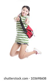 Excited student girl jumping and good hand gesture with bag in full length - isolated over white background, model are asian woman