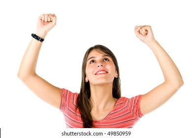 Excited woman with arms up isolated over a white background