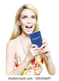 Excited woman clutching a passport in anticipation of the freedom of adventure and travel in foreign countries and tourist destinations