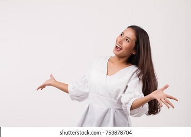 excited woman happy smiling asian girl laughing woman looking up isolated; laughing girl looking up face with happy joyful cheerful young woman expression portrait; asian girl woman model looking up