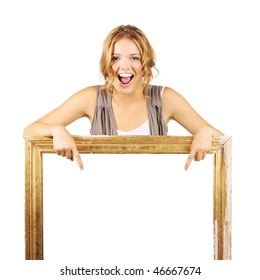 Excited woman holding frame and pointing to the blank sign inside