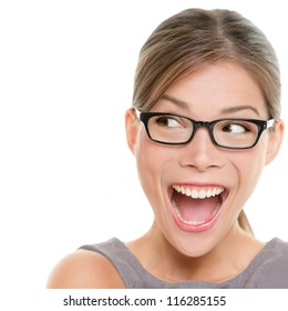 Excited woman looking sideways screaming of joy. Closeup of happy mixed race Asian Chinese / Caucasian female business woman isolated on white background.