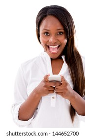 Excited woman texting on her phone - isolated over white background
