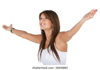 Excited woman in white with arms opened - isolated