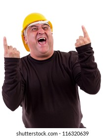 Excited worker with arms raised in success and screaming of joy .