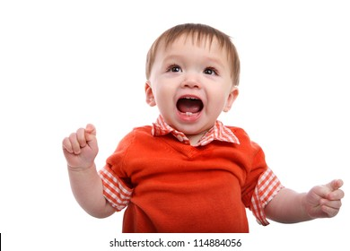 Excited Young Baby Boy isolated over white