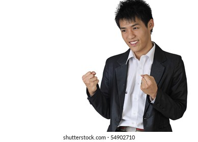 Excited young business man of Asian with copyspace on white.