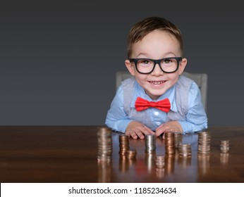 Excited young businessman with money