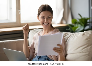 Excited young woman reading paper documents, making yes gesture. Happy lady amazed by good news notification. Surprised student getting university approval, worker receive salary increase notice.
