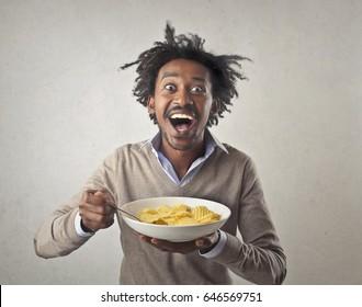 Excitement eating junk food
