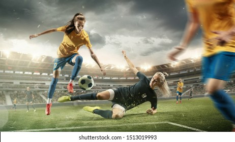 Excitement. Young female soccer or football players in sportwear kicking ball for the goal in action at the stadium. Concept of healthy lifestyle, sport, motion, movement. Collage made of 2 models.