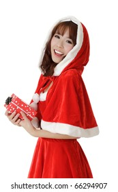Exciting Christmas girl with smiling and enjoy face holding gift box over white.