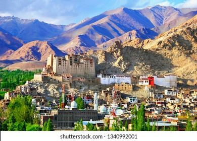 Exciting city view: former Royal Palace, Buddhist monastery - Namgyal Tsemo Gompa, traditional tibetan houses, barren mountain range in Leh, the capital of Ladakh, Himalayas, Jammu & Kashmir, India