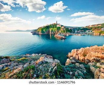 Exciting morning cityscape of Vrbnik town. Splendid summer seascape of Adriatic sea, Krk island, Kvarner bay archipelago, Croatia, Europe. Beautiful world of Mediterranean countries.