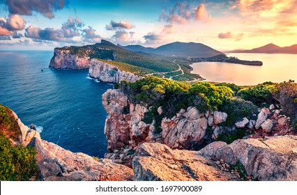 Exciting morning view of Caccia cape. Nice spring sunrise on Sardinia island, Italy, Europe. Great morning seascape of Mediterranean sea. Beauty of nature concept background. - Shutterstock ID 1697900089
