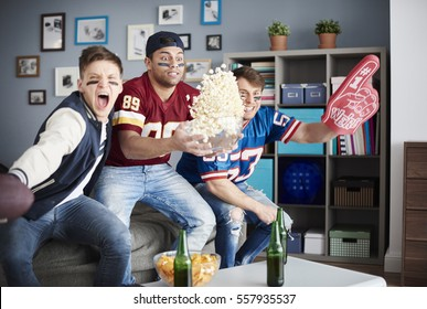 Exciting scene of American football supporters