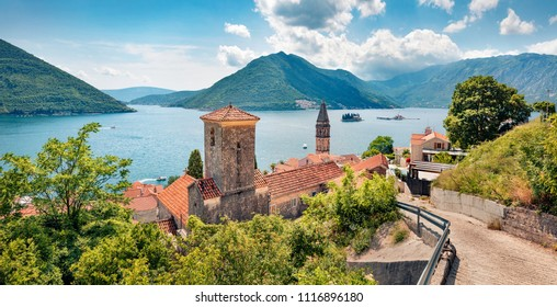 Exciting summer view of Perast town. Wonderful morning scene of Kotor Bay, Montenegro, Europe. Traveling concept background. Beautiful world of Mediterranean countries.