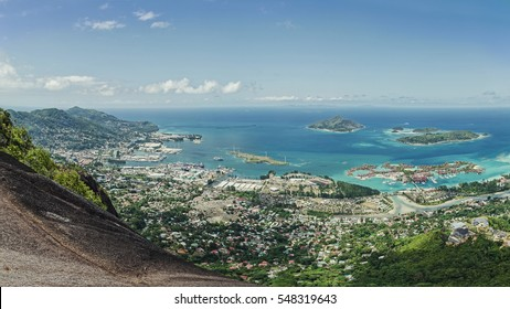 Exciting view from Copolia mountain on the Victoria town and the port, Mahe island, Seychelles