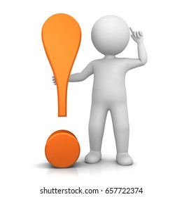 exclamation point exclamation mark 3d orange stick man idea pose idea gesture rendering illustration isolated white background as punctuation mark character high resolution for business as hack icon