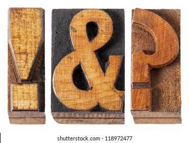 exclamation point , question mark and ampersand - isolated vintage letterpress wood type blocks