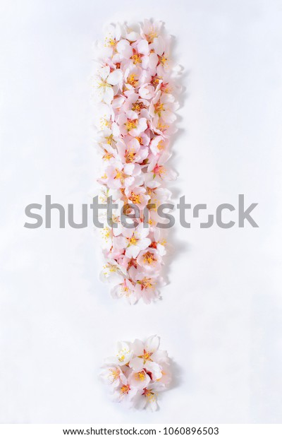 Exclamation sign lined with pink flowers on a white background