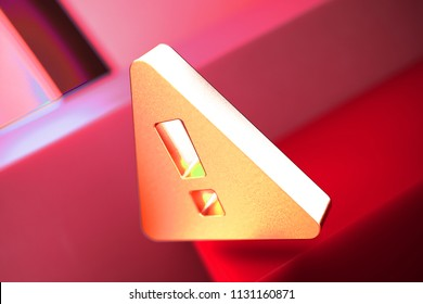 Exclamation Triangle Icon on the Red Geometric Background. 3D Illustration of Metallic Caution, Danger, Exclamation, Mark Icon Set With Color Boxes on Red Background.