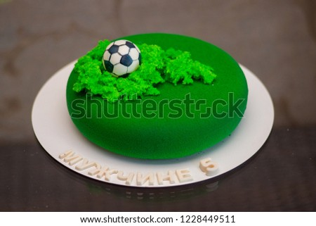 Exclusive Birthday Cake For A Football Theme Russian Text Mens 5 Year