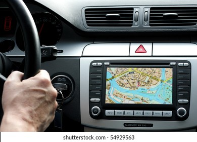 Exclusive car dashboard and gps with map of wroclaw, poland