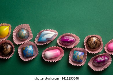 Exclusive chocolate bonbons top view